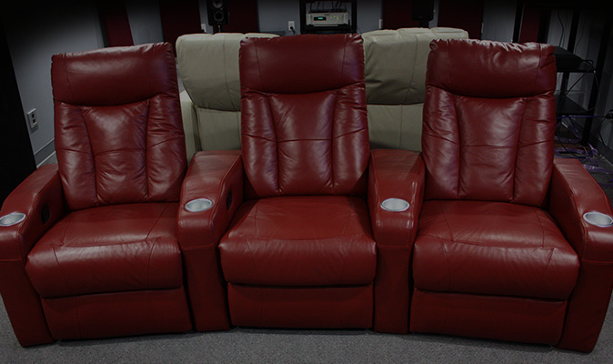 Red Leather Theater Seats - Audio Exchange Richmond VA